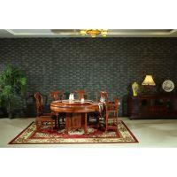 港龙红木 非洲酸枝木圆桌 红木餐厅系列餐桌椅组合 非酸圆台 古典中式厂家直销