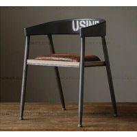 欧诚铁艺复古创意椅子 坐垫做旧咖啡椅 铁艺实木餐桌椅 吧台椅子