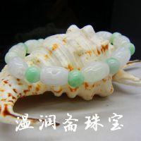 缅甸翡翠A货豆种路路通手链 广东翡翠手链批发市场 玉石批发