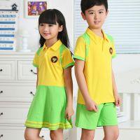 夏季新款小学生幼儿园翻领高档校服儿童短袖短裤黄色纯棉套装批发