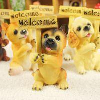 优沃家居创意礼品 树脂工艺品 动物摆件 仿真狗模 举牌欢迎狗6款