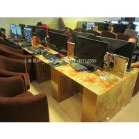 上海慧祥网鱼网吧桌椅 大理石纹钢化玻璃电脑桌网鱼网咖电脑桌子江苏网吧桌椅