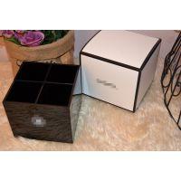 厂家直销 限量方型四格笔筒收纳盒 高档黑色方型四格亚克力收纳盒