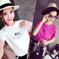 小银子2015夏装新款韩版简约字母下开叉百搭显瘦短袖T恤B