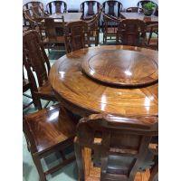 名琢世家红木餐厅家具 刺猬紫檀现代中式2米圆餐桌13件套批发零售