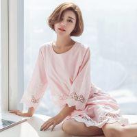 批发 春季韩版新款梭织全棉睡衣七分袖蕾丝公主小清新甜美睡裙005