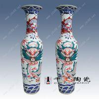 景德镇手绘青花粉彩雕龙落地大花瓶1.8米2米3米酒店装饰品