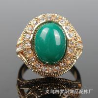 欧美复古 绿宝石 镶钻 镂空 镀18K金 速卖通 外贸畅销高端饰品