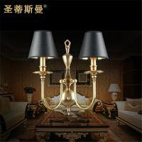 双头黑色灯罩铜艺壁灯 电视墙背景墙壁铜灯 欧美风格装饰灯具灯饰