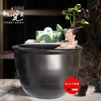 景德镇手绘山水陶瓷泡澡缸 养鱼缸洗浴泡澡大缸 温泉会所水缸定做
