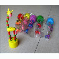 65802 可以活动的木制长颈鹿 动物玩具批发
