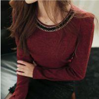 2015春季季新款韩版修身显瘦T恤 大码加绒加厚百搭长袖打底衫女