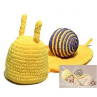 2儿童蜗牛造型手工帽 蜗壳连身披肩宝宝帽毛线帽子 影楼必备