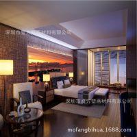 酒店墙布定做 大型风景壁画厂家 床头背景壁画墙布装饰 天花壁画