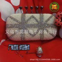 英颗手袋外贸新款欧美双米字4指珍珠镶钻晚宴包手拿包