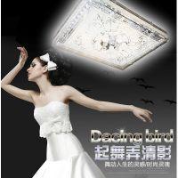 创意方形水晶灯温馨主卧室灯时尚led客厅吸顶灯餐厅灯具现代灯饰