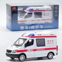 批发美致奔驰120救护车汽车模型声光版回力车模 仿真儿童玩具车