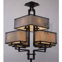 现代简约新中式铁艺吊灯客厅餐厅新中式布艺吊灯明璞新中式灯饰品牌
