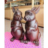 30CM可爱的兔子摆件 情侣兔 黑檀实木雕刻工艺品 艺博苑