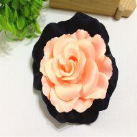 【广州厂家】外贸热卖时尚个性OL 女 玫瑰 棉布双色布胸花手工花