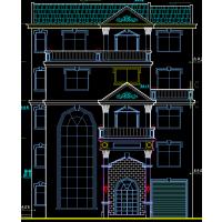 美式风格带地下室高档中空二层别墅设计图13x8.8米
