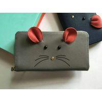 工厂加工定制生产女式真皮十字纹拉链长款零钱包卡包