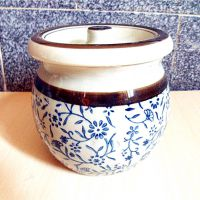 一件代发厨房日式仿古陶瓷手绘釉下彩调料瓶调味瓶调料罐 出厂价