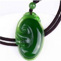 天然A货和田碧玉吊坠 如意吉祥玉坠挂件满绿玉器珠宝首饰批发