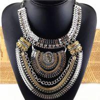 欧美大牌个性多层镶钻复古锁骨项链夸张女时尚配饰品速卖通热卖