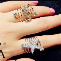 F058 来自星星的你 全智贤银色五角星金色LOVE弹簧戒指指环