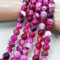 批发 巴西天然玫红条纹缠丝玛瑙散珠 6-14MM水晶珠子 DIY饰品配件