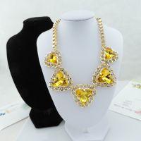 速卖通热销韩版式项链黄色金项链锁骨夸张金属包边项链毛衣链78g