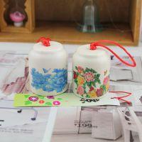 zakka日式青花陶瓷风铃 江户车挂风铃 和风小物 国花牡丹蝴蝶 2款