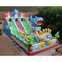 大鲨鱼充气滑梯新款彩绘PVC防水布充气城堡 心悦海底世界充气大滑梯震撼登场