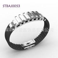 不锈钢数码智能手镯加工生产定制钛钢真皮手环设计首饰厂家