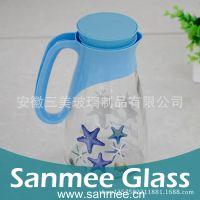 工厂直销热转印玻璃冷水壶 玻璃套壶套装 家庭日用水壶 健康环保