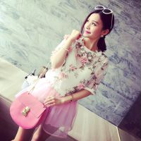 小银子2015夏装新款韩版双层立体花朵透视网纱短袖T恤女X4325