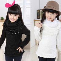 早春韩版品牌童装女童加绒打底衫中大童高领保暖加厚儿童上衣批发