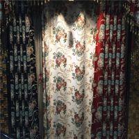 加厚雪尼尔美式大花窗帘别墅小复式客厅卧室大气提花绣花纱帘多色
