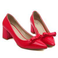 批发 春夏新款复古单鞋女漆皮蝴蝶结亮皮尖头浅口粗跟高跟鞋子潮