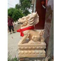 风水石雕麒麟一对、吉林石雕麒麟、旺通雕塑