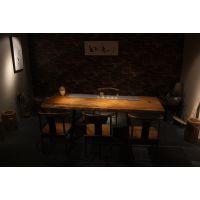 现代简约设实木大板桌巴花大板办公桌椅奥坎胡桃木乌金木红木茶桌原木餐桌台