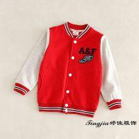 2015春款 外贸童装 儿童字母刺绣撞色条纹棒球服童外套夹克 619