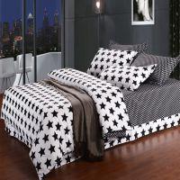 厂家直销 批发 活性时尚黑白星星纯棉四件套 床单床笠款全棉套件