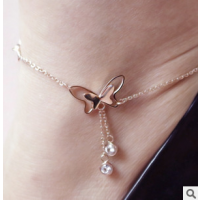批发时尚女款甜美气质可爱蝴蝶镶钻脚链 钛钢玫瑰金脚饰