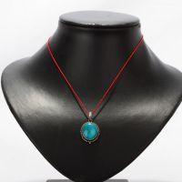 西藏红异域藏风纯银镶嵌绿松石圆形吊坠颈饰复古饰品民族风项链