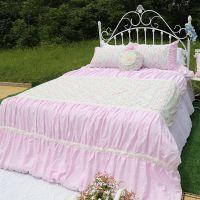 韩式家纺纯棉四件套公主床上用品 粉色印花被套枕套蛋糕波点床裙