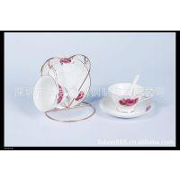 供应情侣咖啡杯勺套装 陶瓷礼品餐具 福利品定制 两杯两碟两勺