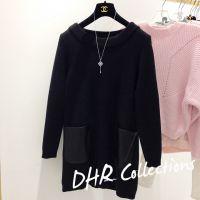 DHR 2014秋冬韩国代购韩版宽松中长款拼皮口袋加厚针织连衣裙毛衣
