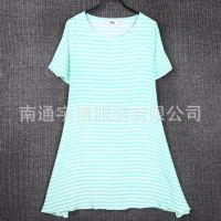 新款2015夏装全棉大码女装圆领短袖连衣裙条纹中长款女打底衫8K42